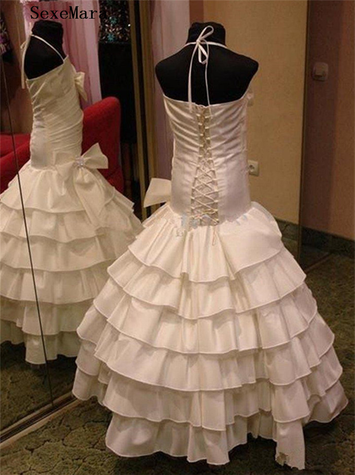 New Mermaid Girls Dresses for Wedding Layered Strapless Lace Up Back Kids Birthday Dress Pageant Party Gown with Bow