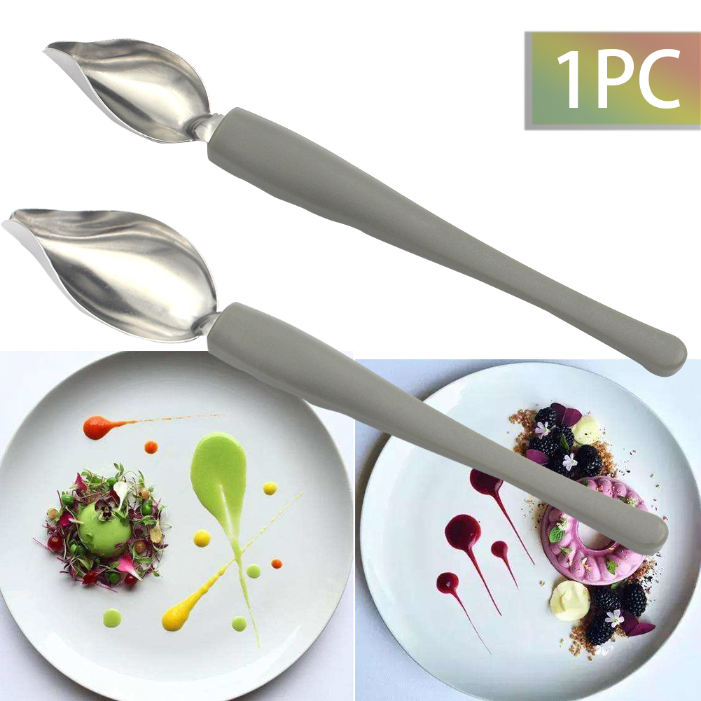 Chef Decoration Pencil Anti-slip Accessories Draw Tools Stainless Steel Portable Mini Sauce Painting Coffee Spoon Kitchen Home