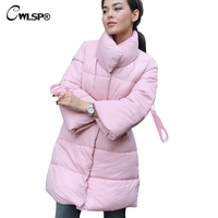 CWLSP Winter A Line Long Coat Casual Turtleneck Thick Female Parkas Women's Down camperas mujer abrigo invierno 2018 QL4222
