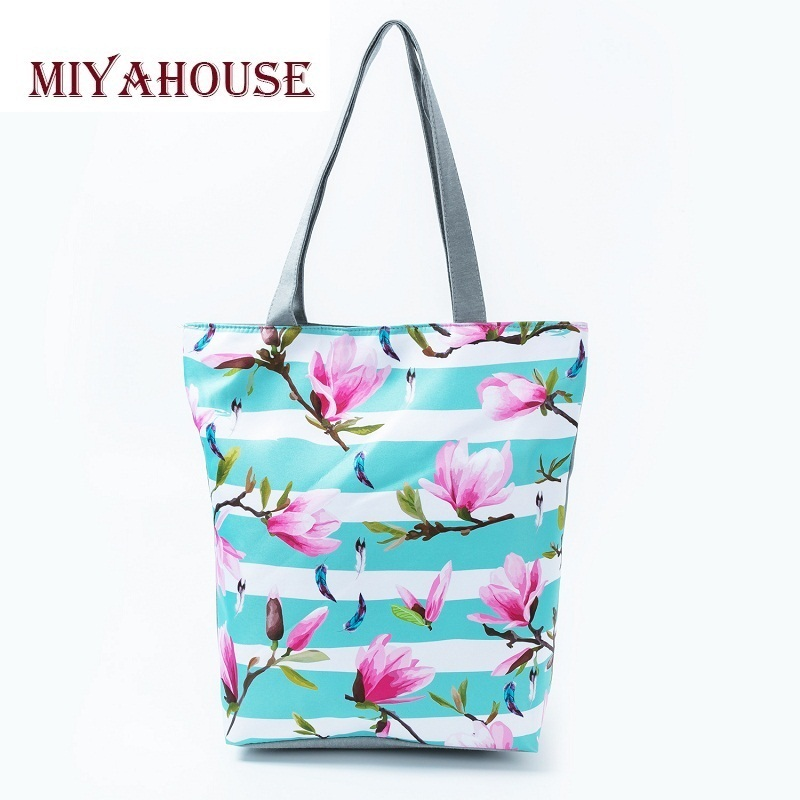 Miyahouse Trendy Flower Design Casual Tote Handbags For Female Birds Striped Printed Beach Bag Women Portable Shopping Bags