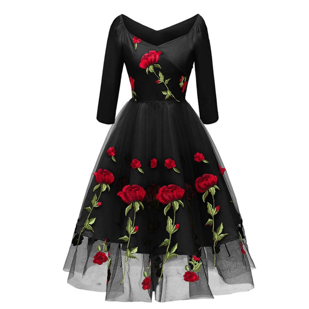 6e42f0b3f300 Floreale Da Partito Inverno Rosa Di Dell'annata Lunga Linea Del Vestito  colore Delle Autunno Tunica ...