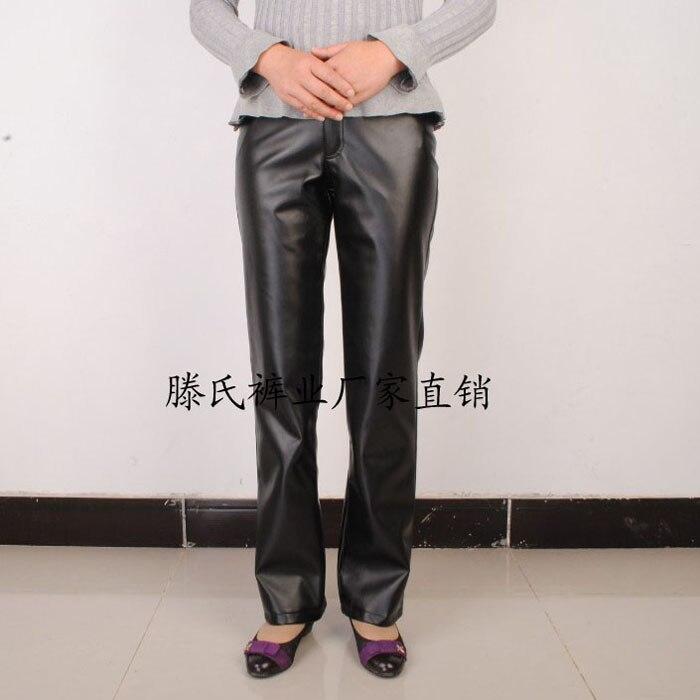 Pantalon droit en cuir faux moto femme mère pantalon pantalons en cuir synthétique polyuréthane pour femme plus velours chaud noir haute qualité 2019