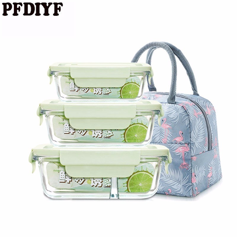 3Pcs Glass Lunch Box Can be filled With Soup Microwave Oven To Keep Fresh Convenient Lunch Fresh Box Pupil With Lid Set image