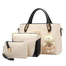 Bolso de cuero de las mujeres mensajero de las mujeres bolsos de las señoras diseños de marca bolso bolsas Bolso + Bolso Del Mensajero + Bolso 3 Sets