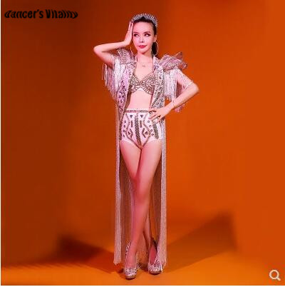 Rhinestone Bodysuit AB Color Bright Diamond Stage Costumes Singers Dj Sexy White Three-piece Stage Performance Dance Costume