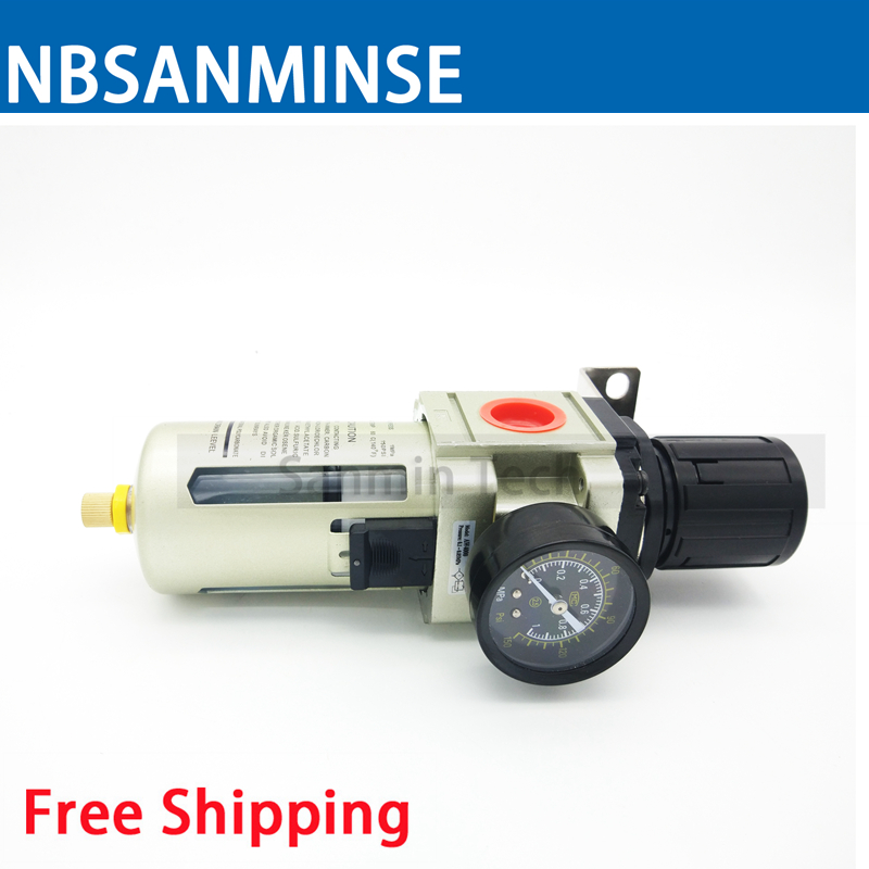NBSANMINSE Air Preparation Unit AW2000 1/8 1/4 3/8 1/2 3/4 1 One Unit Air Source Treatment Unit Filter With Regulator Autodrain купить недорого в Москве