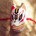 Full Face Hand-Painted Japanese Fox Mask Art Collection Pattern Cosplay Masquerade for Party Carnival Halloween