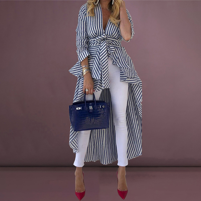 2019 Spring Women Fashion Elegant Office Workwear Asymmetrical Long Blouse Female Casual Top Striped Tied Front Dip Hem Shirt