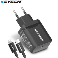 KEYSION 18W USB-C PD Fast Charger for iPhone XS Max XR X Type-C Travel Wall Quick QC 3.0 Charging 8 Plus