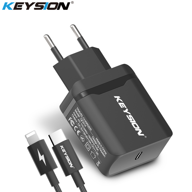 KEYSION 18W USB-C PD Fast Charger for iPhone X 8 8 Plus Type-C Travel Wall Quick Charger QC 3.0 PD Fast Charging for iPhone X 8