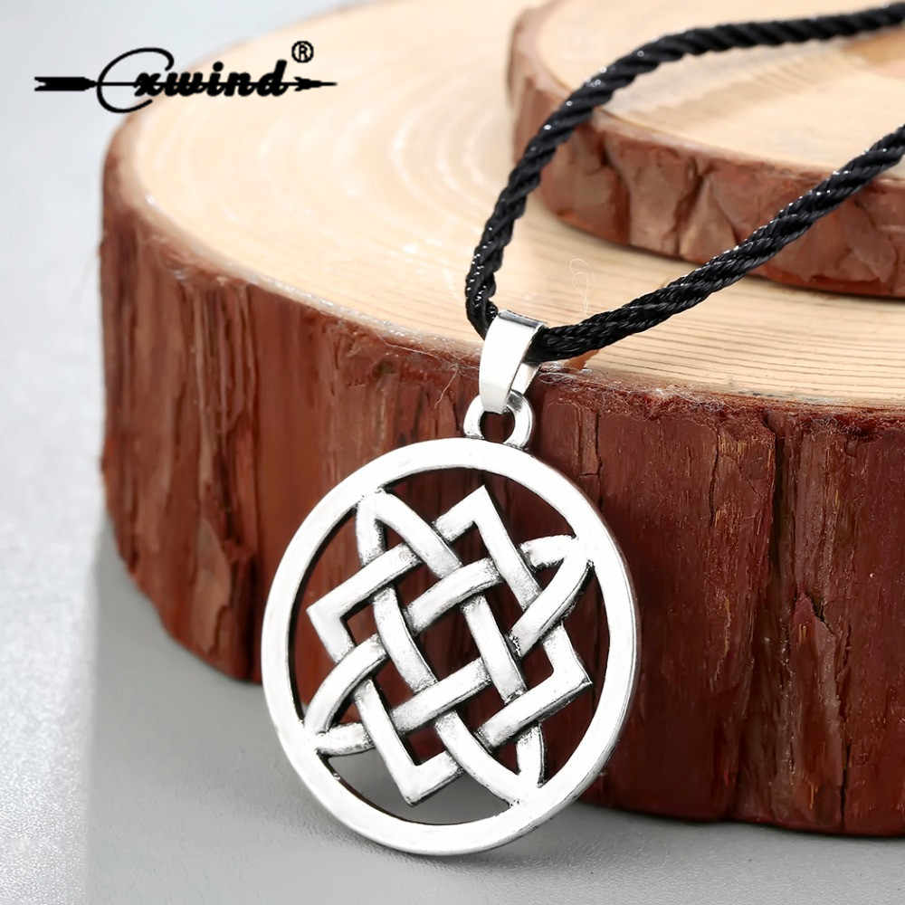 Cxwind Punk Slavic Virgin Lada Star Pendant Necklace Slavic Lada Amulet Irish Knot Pendant Choker Necklaces Rope Chain Jewelry