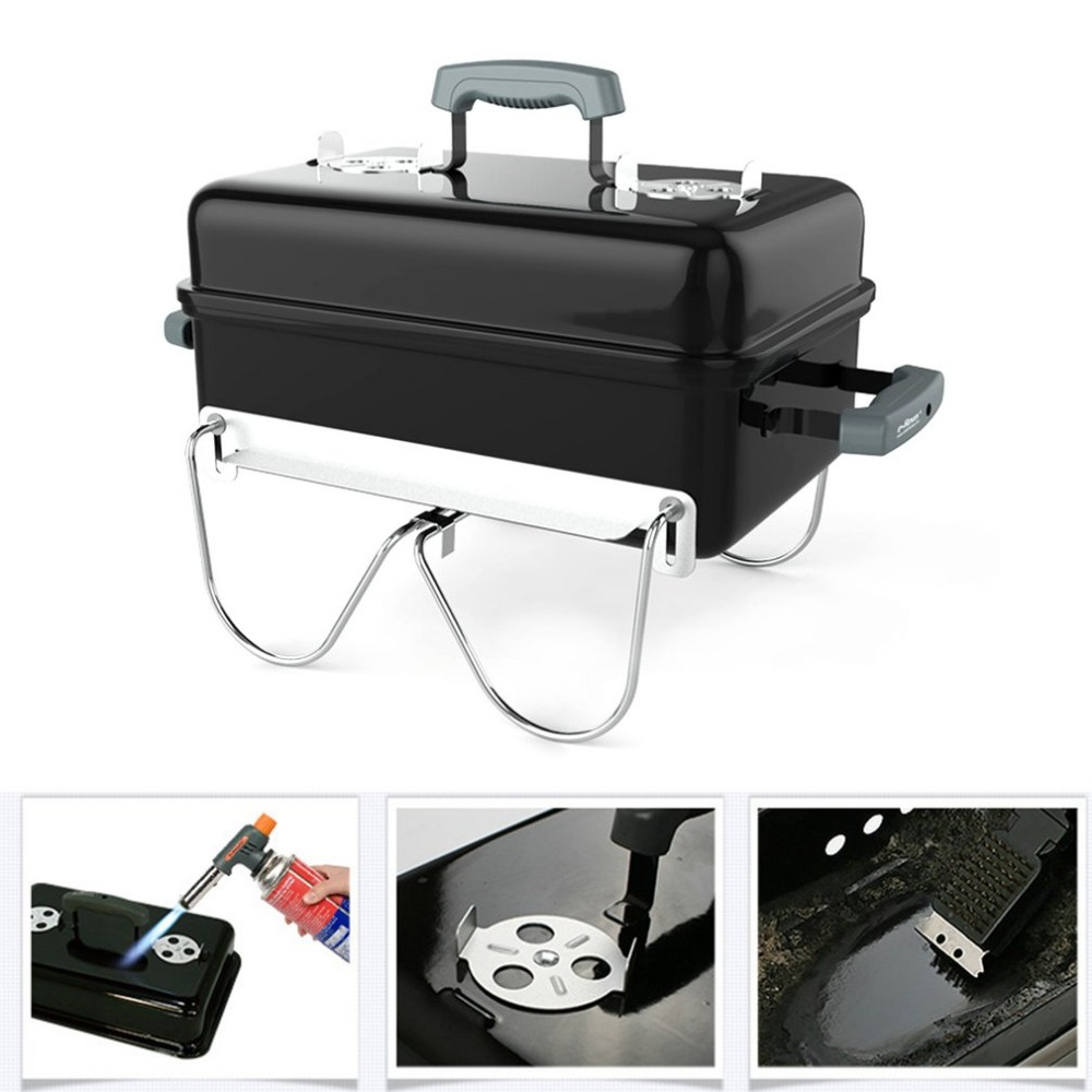 AOTU Outdoor Portable Charcoal Barbecue Stove Cooker Folding For Camping Picnic Patio Garden Party Furnace BBQ Grills Tools hewolf portable size outdoor camping beach bbq barbecue grill rack household use lightweight folding picnic rack stand well sell