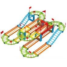 DIY электрический гоночный вагон детский поезд трек модель игрушки Детский Железнодорожный трек гоночный Дорожный транспорт строительный комплект пазов
