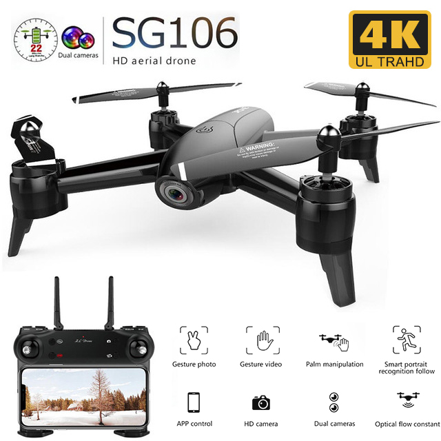 SG106 RC Drone flux optique 1080P 720P 4K HD double caméra en temps réel antenne vidéo RC quadrirotor avion positionnement RTF jouets enfant