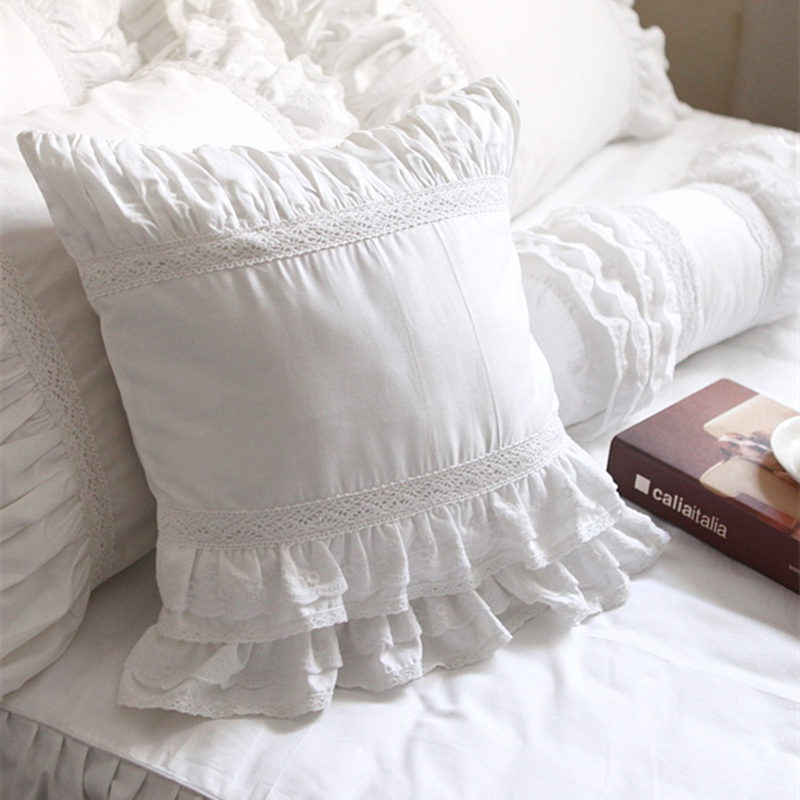Hot Luxury white lace edge ruffle square pillow case wedding decorative bedding textile sofa pillow princess cushion cover sale