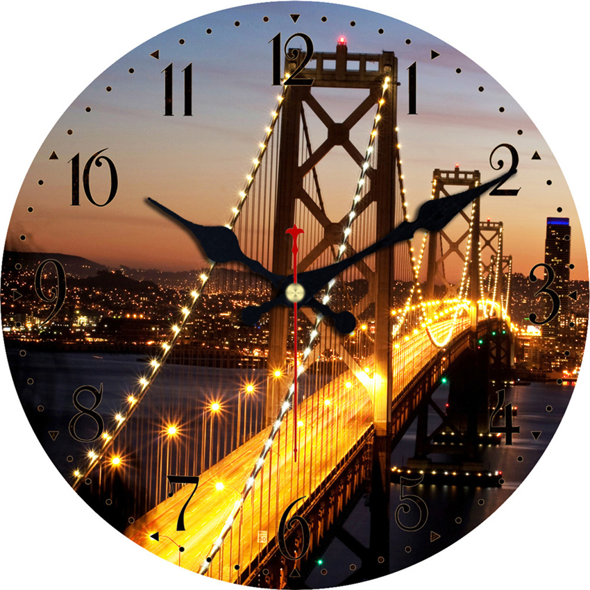 Vintage Wall Clocks Scenery Design Silent Corridor Cafe Office Kitchen Home Watches Home Decor Large Wall Clock No Ticking Sound