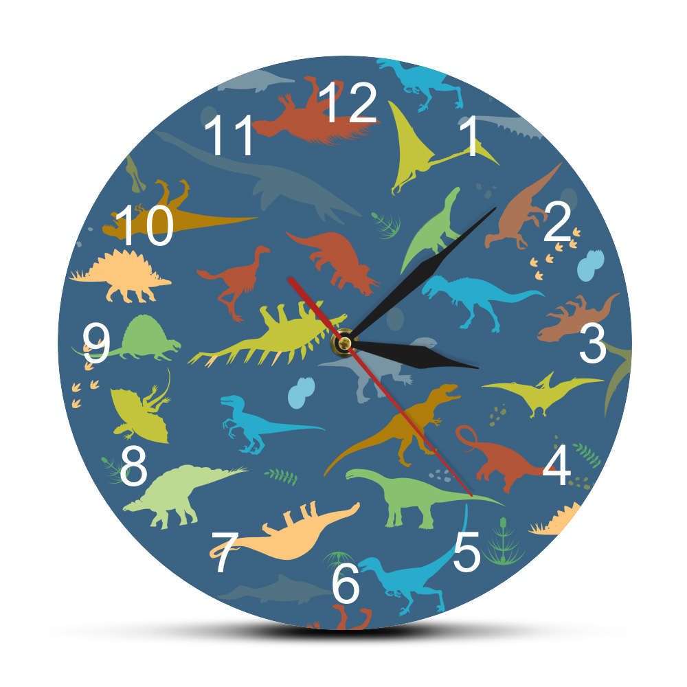 Colorful Dinosaur With Numbers Personalised Name Modern Wall Clock Jurassic World Dinaosaur Kid Room Boys Dino Clock Wall Watch