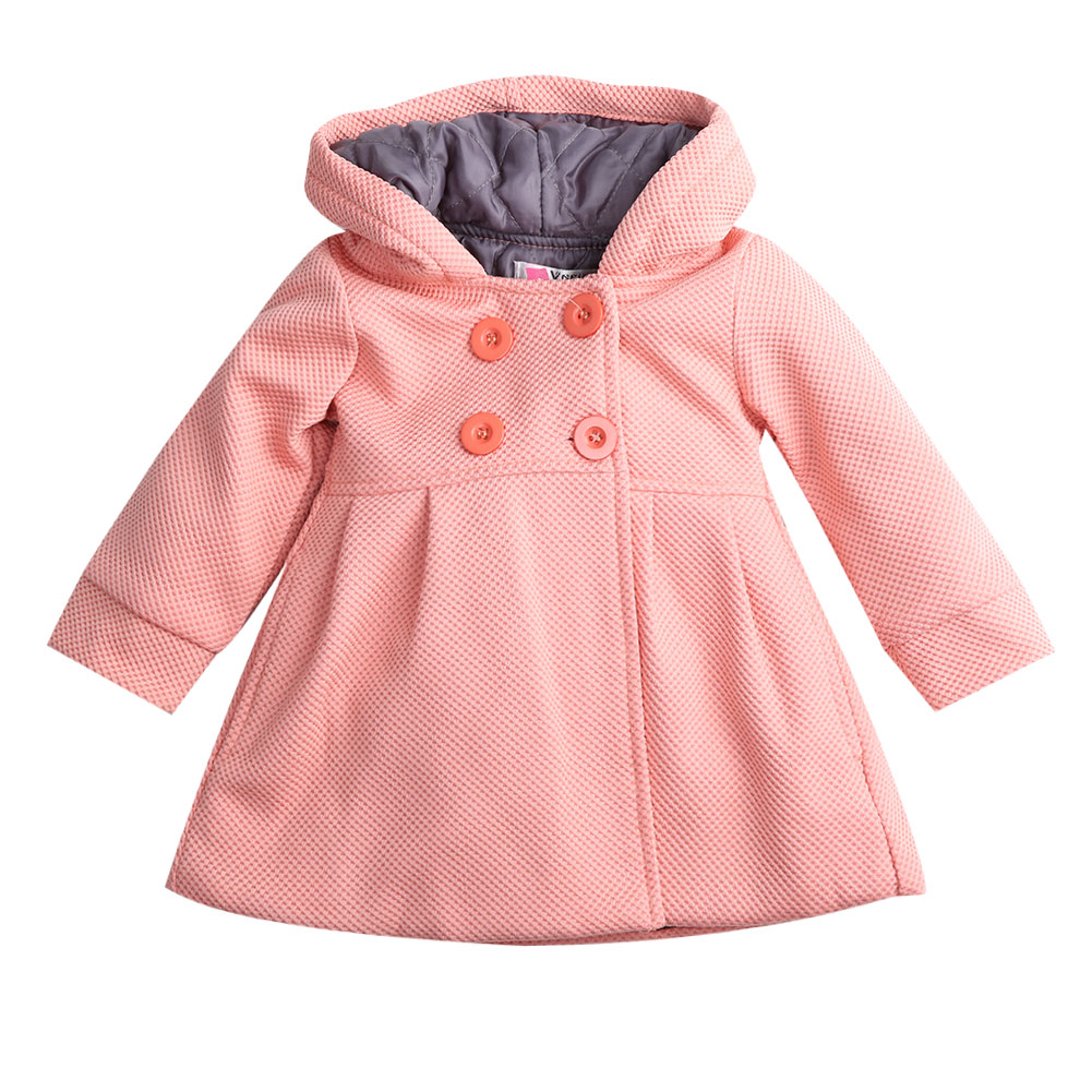 2017 New Baby Toddler Girls Fall Winter Horn Button Hooded Pea Coat  Outerwear Jacket a061609ab5c2