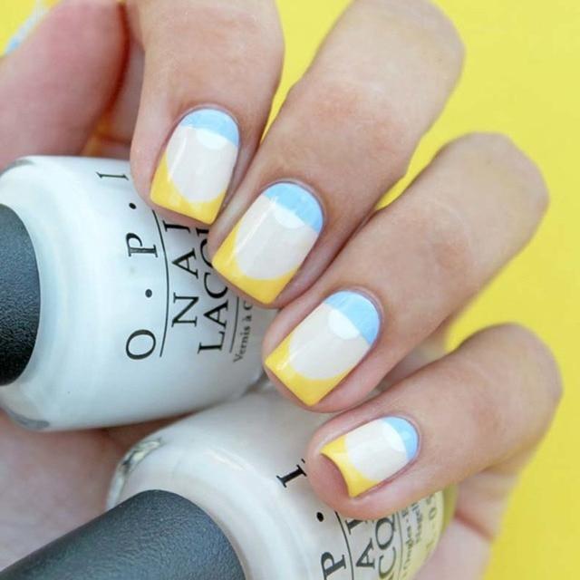 Elegant Easy Geometric French Nail Art Design Yellow Blue Uv Led