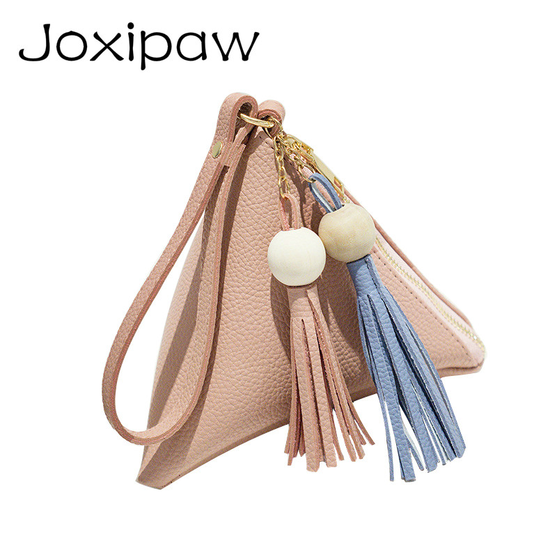 Mini Triangle Women Clutch Purse Hand Bag Wristlets Strap Small Women Bag Lady Clutches Casual Phone Package Joxipaw