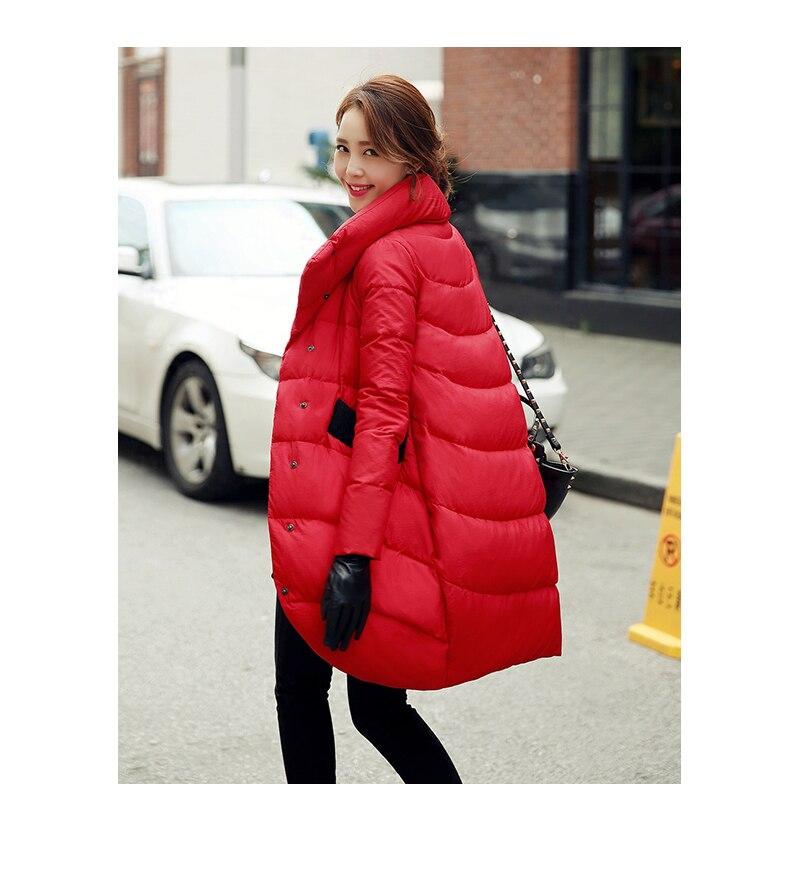 Allentato di spessore nero rosso navy blu giù giacca per le donne e lunghi tratti Delle Donne cappotti