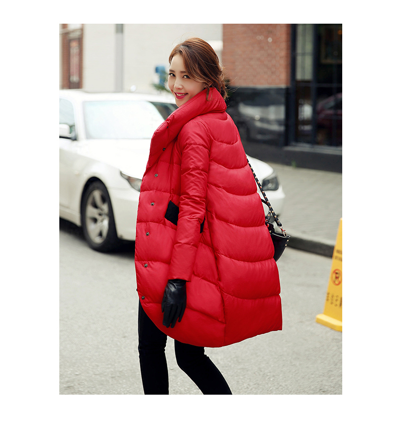 Loose Thick  Black Red Navy Blue Down Jacket For Womens And Long Sections Womens Coats