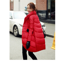 loose thick black red navy blue down jacket for womens and long sections Womens