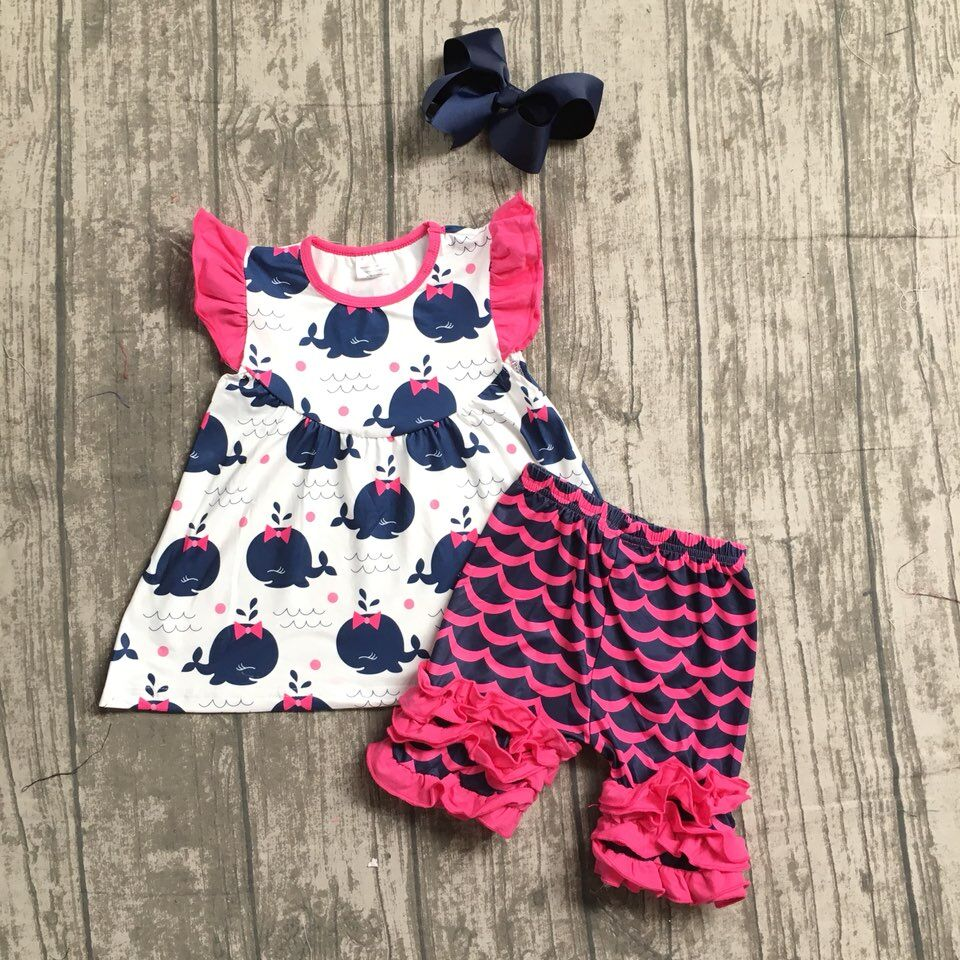 baby girls summer whale outfits children kids ruffle shorts boutiques clothes baby girls summer whale clothes with matching bows 2016 summer baby child girls outfits ruffles shorts white striped watermelon boutique ruffles clothes kids matching headband set