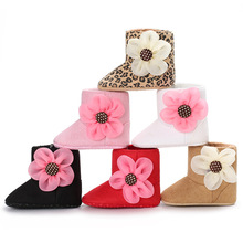 Newborn Baby Girl Princess Winter Boots 2017 Keep Warm Infant Toddler First Walkers Big Flower Shoes