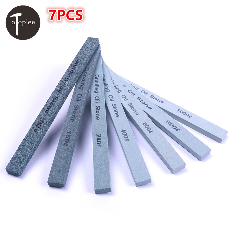 7PCS 80# 150# 240# 400# 600# 800# 1000# Grit Knife Sharpener Green Carbon Sharpening Polishing Oilstone Grinding Stone