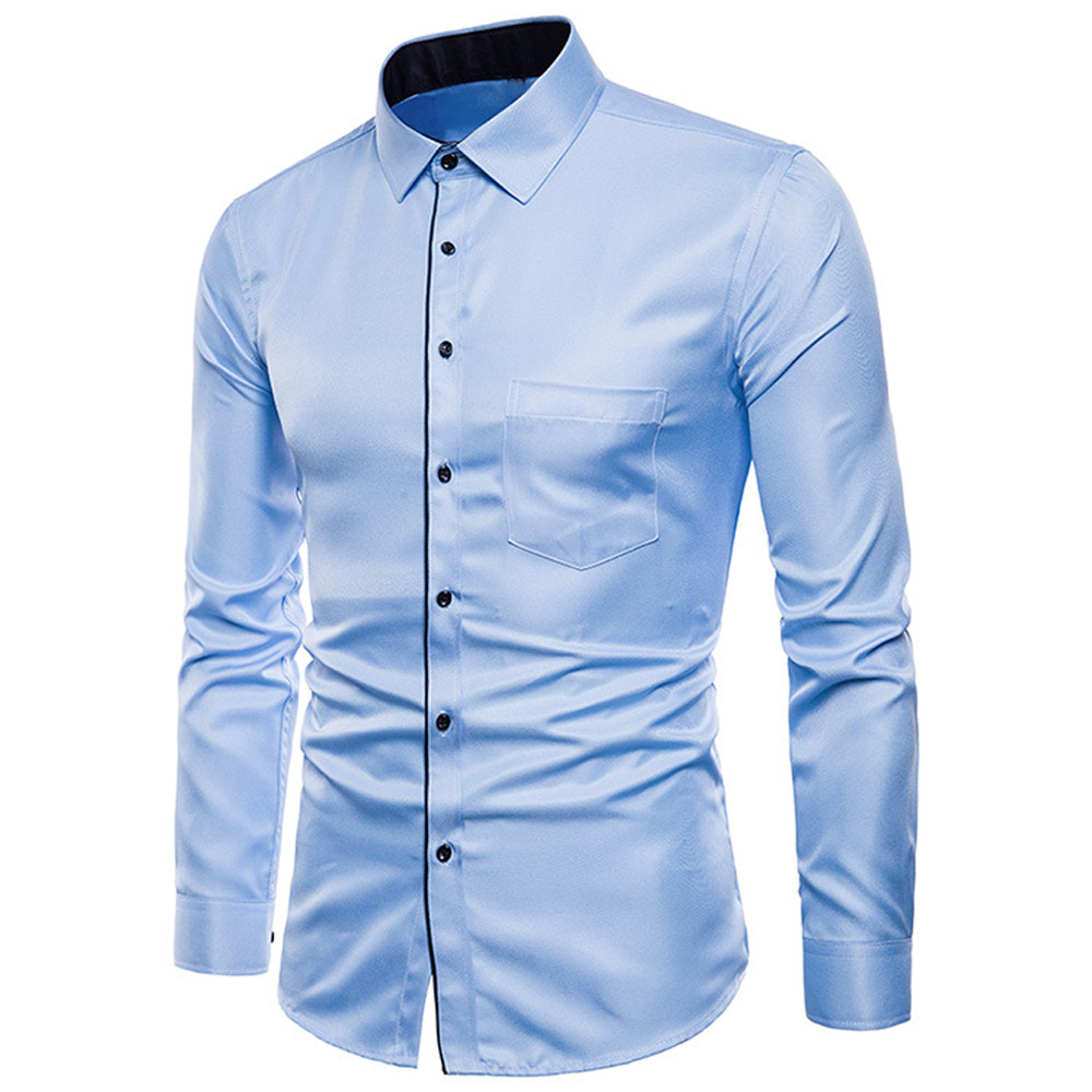 Men Long Sleeve Shirt Mens Long Sleeve Oxford Formal Casual Suits Slim Fit Tee Dress Shirts Top Male Shirt Chemise Homme 7.19