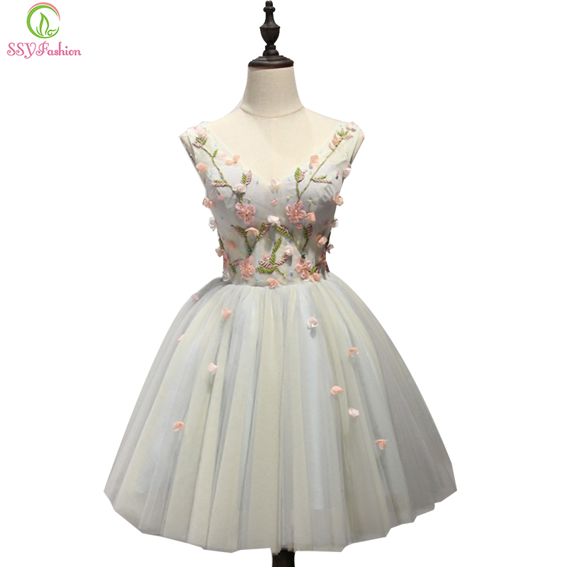 SSYFashion New Sweet Lace Flower Short   Cocktail     Dresses   Banquet Sexy V-neck Mini Sleeveless A-line Party Gown Homecoming   Dress