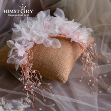 Himstory Korean Handmade Designs Blossom Flower Silk Yarn Headbands Beaded Wedding Hair Accessories Hairwear  Jewelry