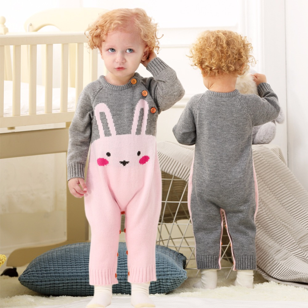 Infant Baby Girls Long Sleeve Rompers Cute Pink Cartoon Rabbit Knitted Newborn Funny Jumpsuit Outfits Fall Winter Toddler Onesie polka dot baby girls clothes backless flounced kid girls rompers jumpsuit playsuit one pieces outfits 0 18m blue pink purple
