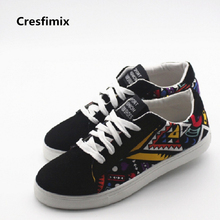 Cresfimix men casual pattern canvas shoes male cool and comfortable lace up shoes man's size 39 to 44 black shoes zapatos hombre(China)