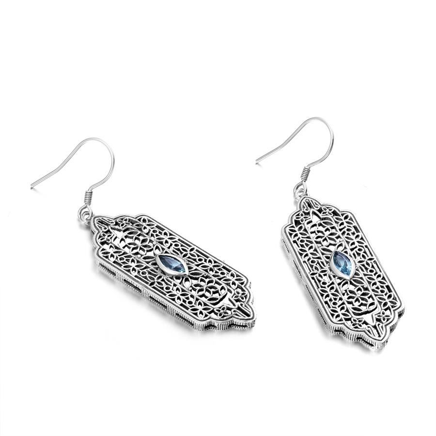 Szjinao Vintage Bohemian 925 Sterling Silver Long Aquamarine Earrings Indian Jewelry Ethnic Style Women Christmas Luxury Gift In From