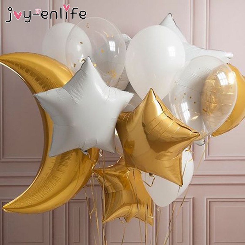 JOY-ENLIFE Moon/Star/Sun/Rainbow/Clund Balloons Aluminum Foil Air Globos Wedding Baby Shower Birthday Decoration Party Supplies