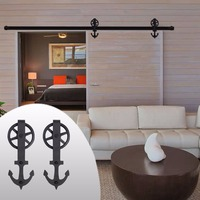 LWZH 14ft/15ft Vintage Style Industrial Anchor Shaped with Big Wheel Sliding Barn Wood Door Hardware Track Kits for Single Door