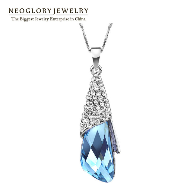 Neoglory Big Austrian Crystal Necklaces Teen Girls Fashion For Birthday Gifts Charm Jewelry 2017 New Brand Statement Hot JS9 B1
