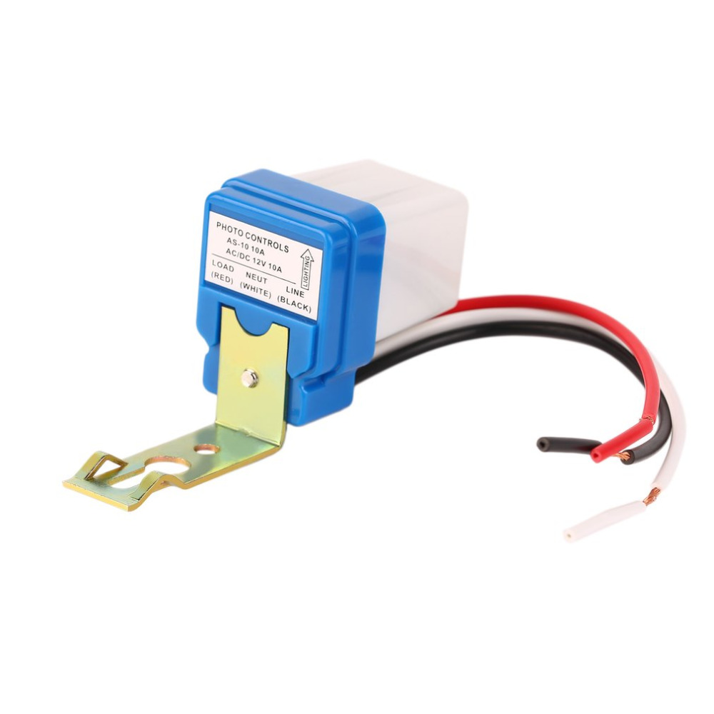 1pcs High Quality 12V 10A Auto AC DC On Off Photocell Street Light Photoswitch Sensor Switch Wholesale 5pcs lot high quality 2 pin snap in on off position snap boat button switch 12v 110v 250v t1405 p0 5