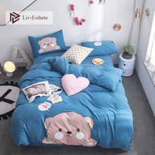 Liv-Esthete Hot Sale Cute Bear Cartoon Bedding Set Blue Duvet Cover Flat Sheet Pillowcase Double Queen King Bed Linen Wholesale