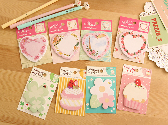 6pcs/lot kawaii flower heart Memo Pad Sticky Note Sticker Label Paper post it Creative Gift Stationery for Kids Free shipping