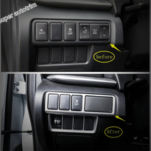 Lapetus ABS Head Lights Lamp Switch Button Frame Cover Accessories Interior Trim Fit For Mitsubishi Eclipse Cross 2018 2019 2020 lapetus front head lights headlight switches button cover trim abs fit for mitsubishi eclipse cross 2018 2019