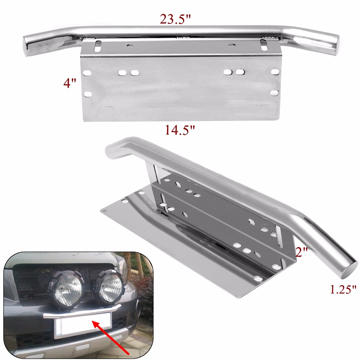 23inch Unversal Bull Bar Front Bumper Fog Working Lights License Plate Mount Braket Holder Offroad Light