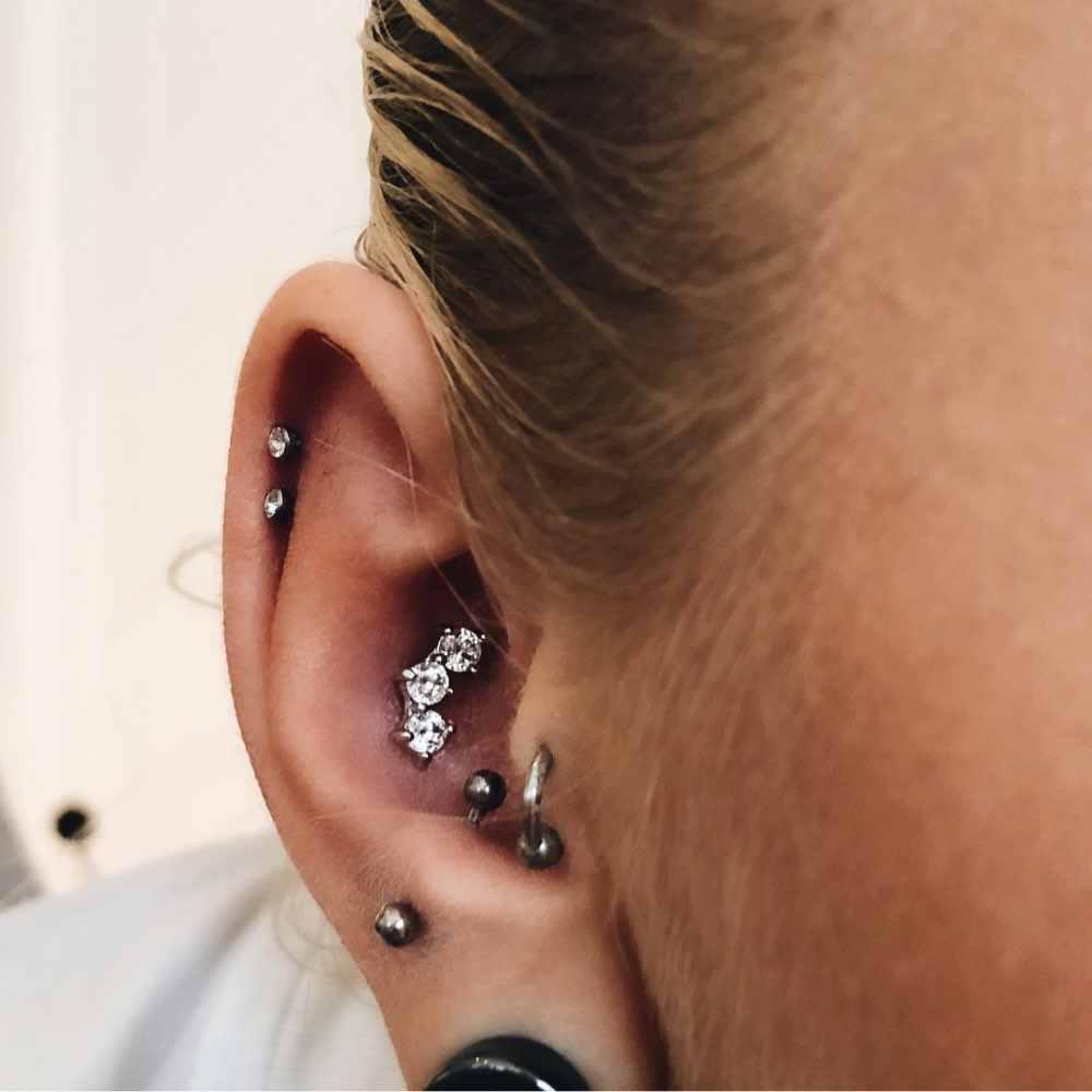 Hot Sale Surgical Titanium Crystal Ear Helix Tragus Piercing Earrings Men Women Body Jewelry