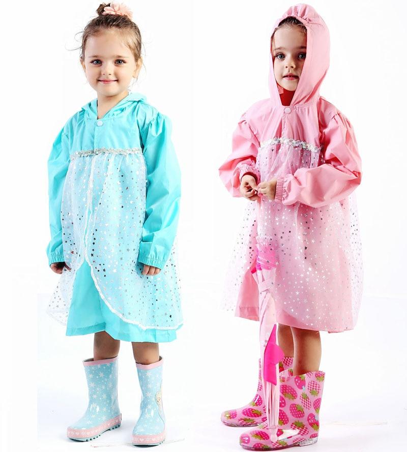 80-130cm child princess raincoat rainwear for children kids girls baby rain coat poncho  waterproof trench