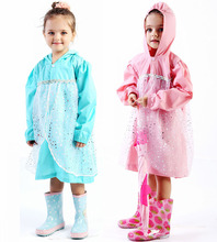 80-130cm child princess raincoat rainwear for children kids girls baby rain coat poncho  waterproof trench