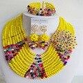 Laanc Brillante Multi Colores y Opaco Amarillo 2016 la moda de nueva grano de la joyería africana set crystal C2201