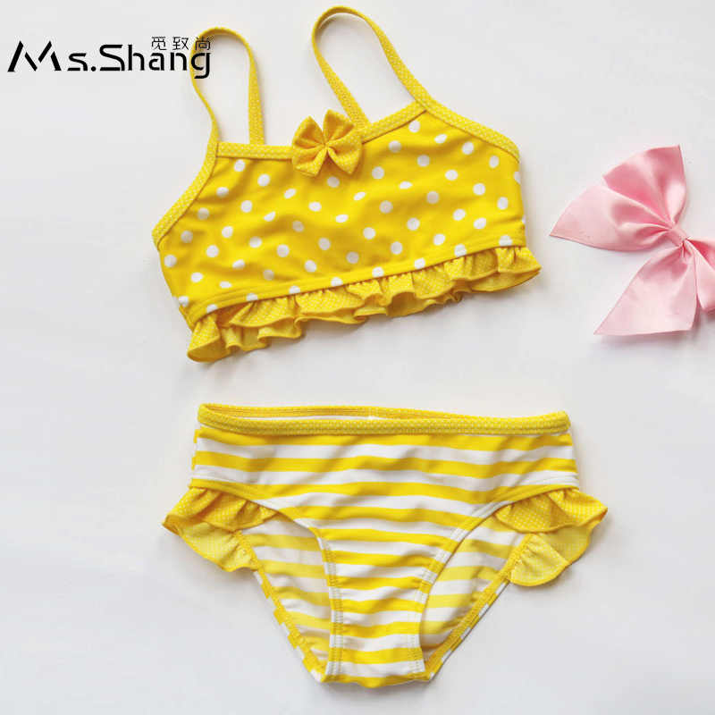 6e1d011a65ced Ms.Shang Dot Infant Baby Girl Swimsuit Children Swimwear 6M-8Years Two  Piece Child