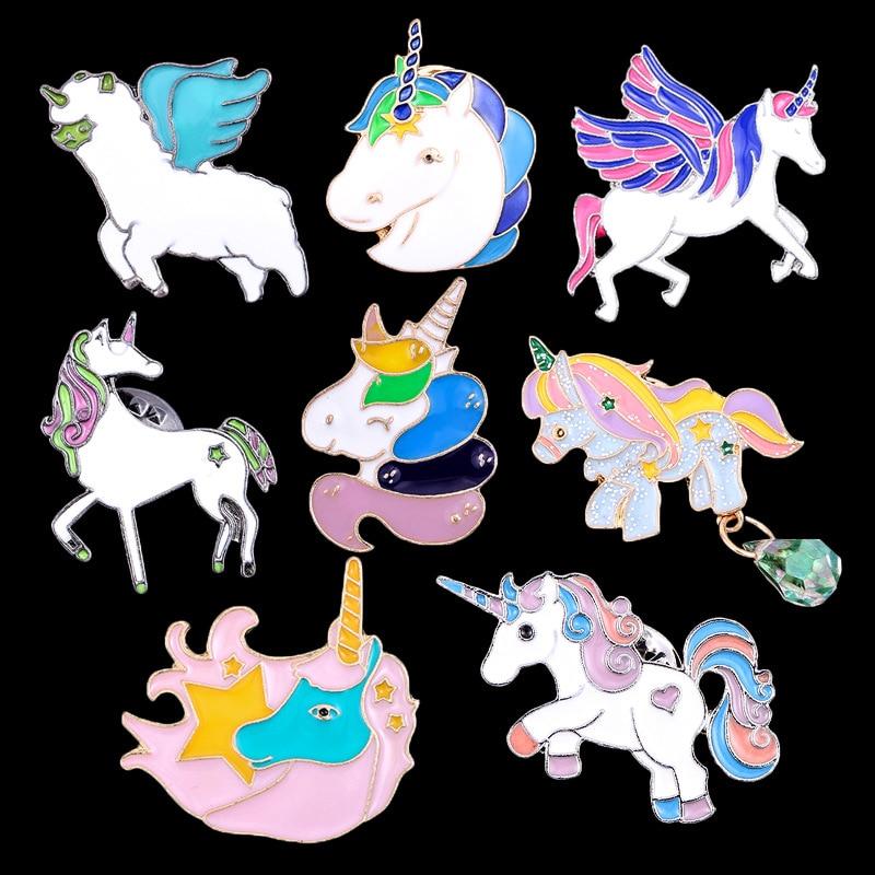 2018 Heißer Fahsion Cartoon Bunte Einhorn Pegasus Emaille Brosche Abzeichen Süße Nette Pferd Kopf Broschen Pin Frauen Corsage Schmuck